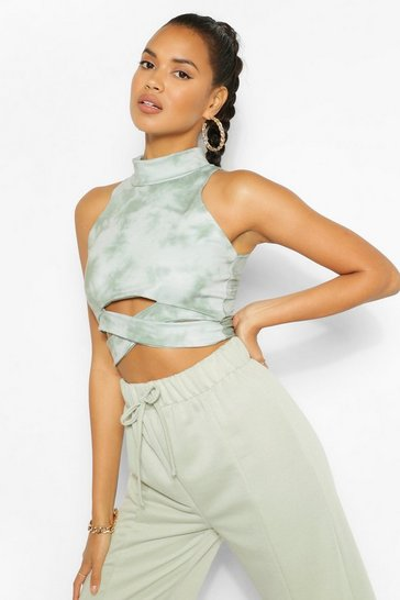 Khaki The Cut Out Tie Dye Crop Top