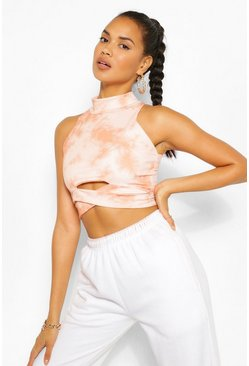 Terracotta orange The Cut Out Tie Dye Crop Top