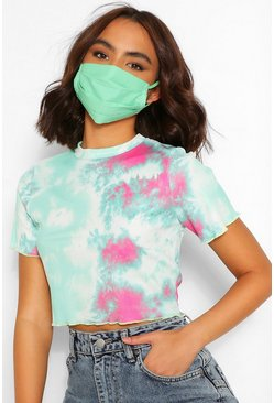 Green Pleated Cotton Fashion Face Mask