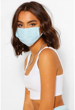 Blue Pleated Cotton Fashion Face Mask