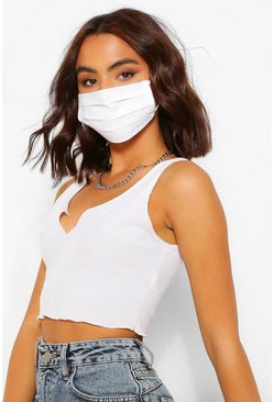 White Pleated Cotton Fashion Face Mask