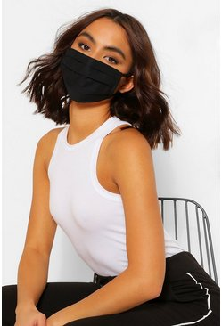 Black Pleated Cotton Fashion Face Mask
