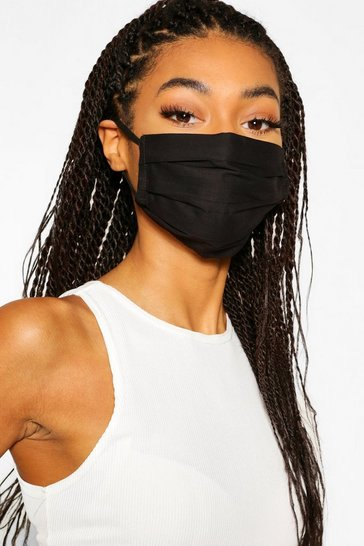 Black 10 Pack Pleated Cotton Fashion Face Mask