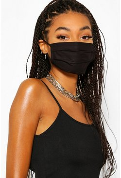 Black 7 Pack Pleated Cotton Fashion Face Mask