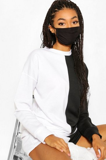 Black 3 Pack Pleated Cotton Fashion Face Mask