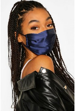 Black 2 Pack Pleated Satin Fashion Face Mask