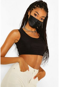 Black 5 Pack Pleated Satin Fashion Face Mask