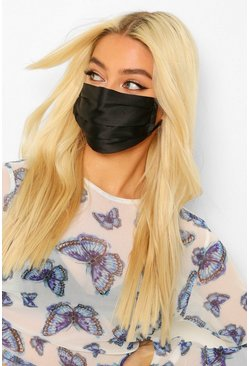 Black Satin Pleated Fashion Face Mask