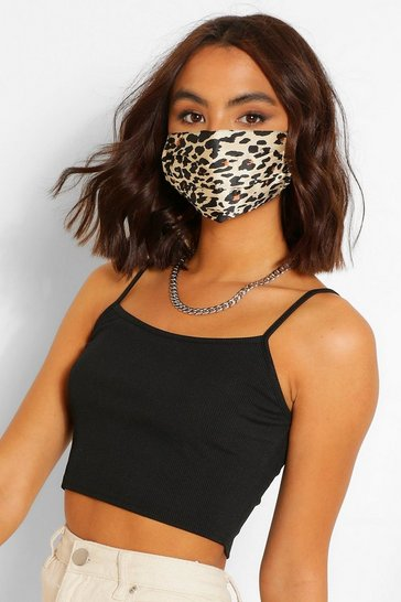 Brown Leopard Satin Pleated Fashion Face Mask
