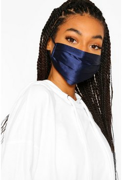 Navy Satin Pleated Fashion Face Mask