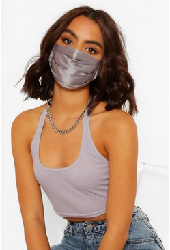 Satin Pleated Fashion Face Mask , Silver