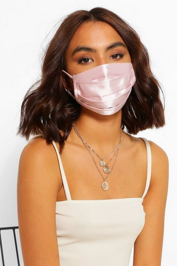 Pink Satin Pleated Fashion Face Mask