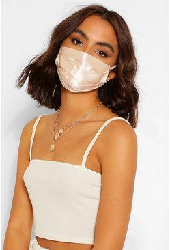 Nude Satin Pleated Fashion Face Mask