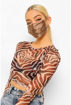 Caramel Satin Pleated Fashion Face Mask