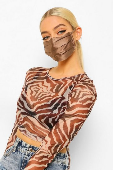 Caramel beige Satin Pleated Fashion Face Mask