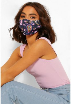 Navy Paisley Print Fashion Face Mask