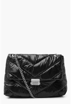 Black Nylon Quilted Cross Body Bag With Chain