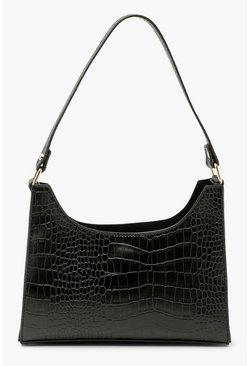 Black Croc Structured Mini Day Bag