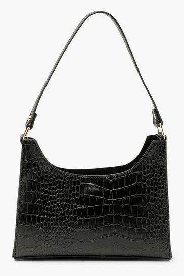 Black Croc Structured Shoulder Bag
