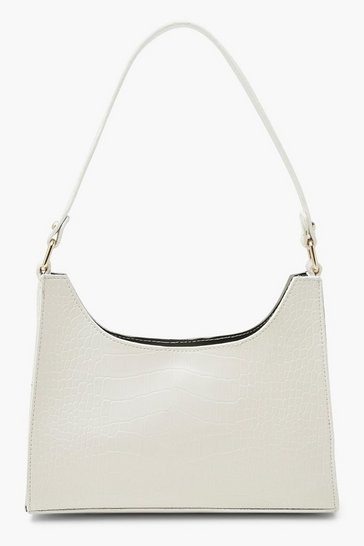 White Croc Structured Mini Day Bag