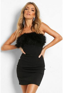 Black Bandeau Feather Mini Bodycon Dress