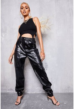 Black Faux Leather Cargo Trouser