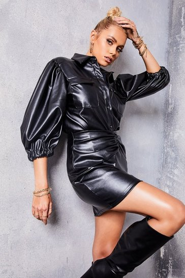 Black Faux Leather Volume Sleeve Shirt