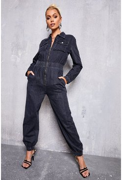 Grey Pocket Detail Denim Boilersuit