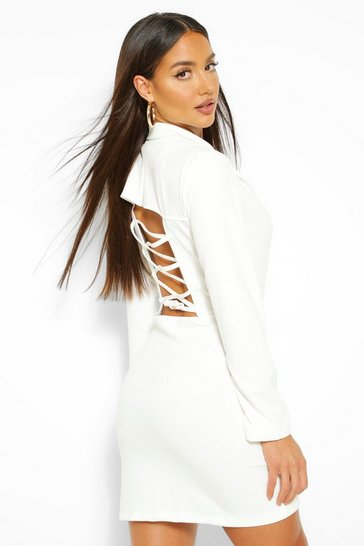 White Lace Up Back Blazer Dress