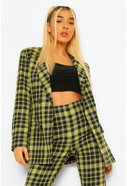 Checked Double Breasted Blazer & Trouser Suit Set