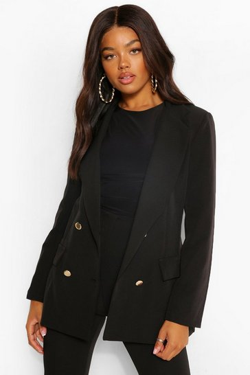 Black Double Breasted Button Front Blazer