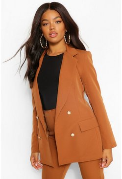 Caramel beige Double Breasted Button Front Blazer