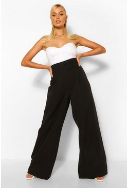 Black Super Wide Leg Belted Trousers