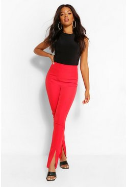 Red Super Skinny Split Front Trousers