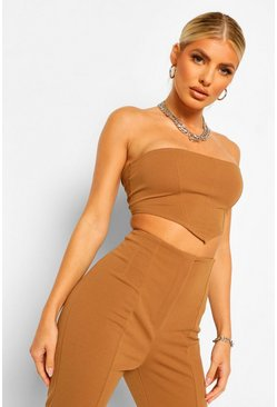 Camel beige Lace Up Back Bandeau Corset