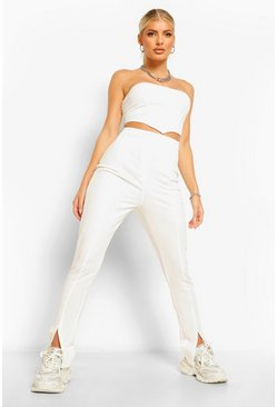 Split Hem Skinny Trousers, White blanc