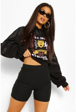 Black Athletic Graphic Mixed Fabric Hooded Sweater
