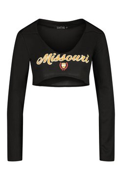 Black 'Missouri' Underbust Shaped Graphic Crop Top