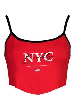 Red Corset 'NYC' Graphic Crop Top