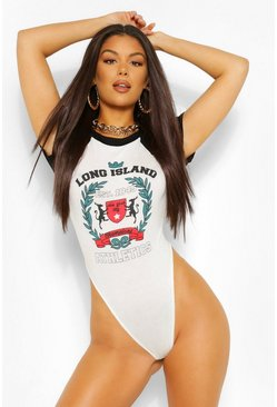 White 'Long Island' Graphic Extreme High Leg Bodysuit