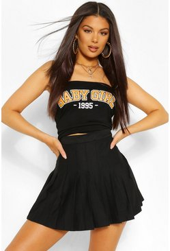 'Baby Girl' Graphic Ruched Bandeau Top, Black nero