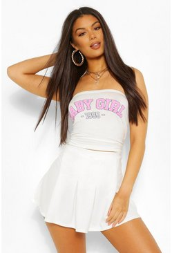 'Baby Girl' Graphic Ruched Bandeau Top