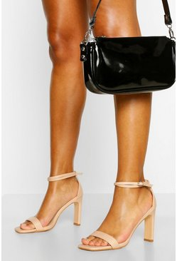 Nude Flat Heel Double Strap Two Parts