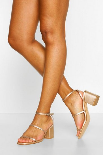 Rose gold metallic Triple Strap Low Block Heels