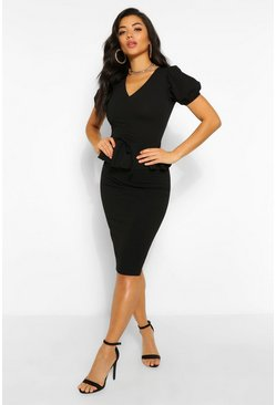 Black Rouched Peplum Detail Midi Dress
