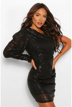 Black Sequin One Shoulder Puff Sleeve Ruched Mini Dress