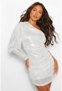 Silver Sequin One Shoulder Puff Sleeve Ruched Mini Dress