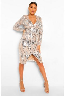 Nude Sequin Long Sleeve Plunge Midi Dress