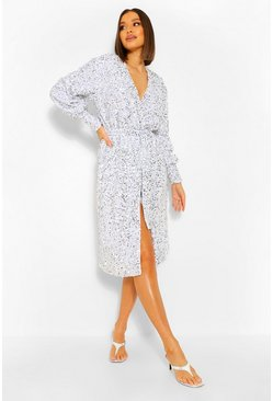 White Sequin Long Sleeve Tie Waist Midi Dress