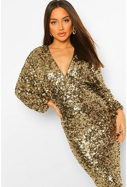 Gold metallic Sequin Long Sleeve Plunge Midi Dress